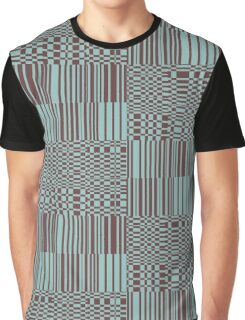 Hip Retro Geometric Tile Dusty Teal and Puce Graphic T-Shirt