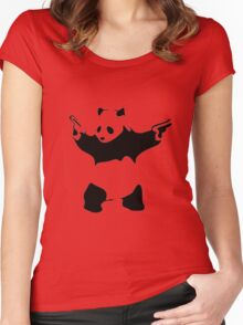 Funny Gangster Panda Women's Fitted Scoop T-Shirt