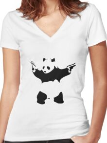 Funny Gangster Panda Women's Fitted V-Neck T-Shirt