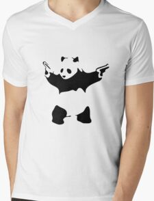 Funny Gangster Panda Mens V-Neck T-Shirt