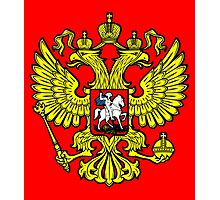 RUSSIA, RUSSIAN, Coat of Arms of the Russian Federation, ON red Photographic Print