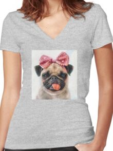 Pug Bleh Crayon Painting Women's Fitted V-Neck T-Shirt