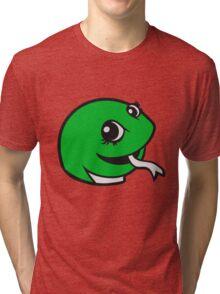 face head sweet little cute baby child snake comic cartoon girl Tri-blend T-Shirt