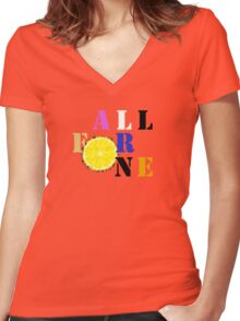 All For One Women's Fitted V-Neck T-Shirt