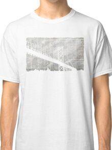 Paper City , Newspaper Bridge Collage,  cutout black white print illustration  Classic T-Shirt