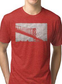 Paper City , Newspaper Bridge Collage,  cutout black white print illustration  Tri-blend T-Shirt