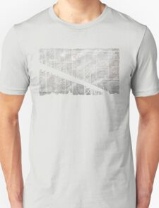 Paper City , Newspaper Bridge Collage,  cutout black white print illustration  T-Shirt