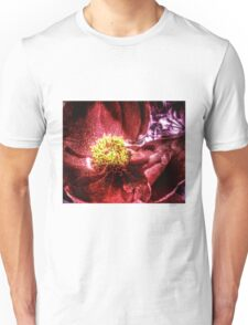 vivid red flower macro with pollen Unisex T-Shirt