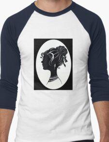 Vintage Fashion Silhouette, Old Fashioned Vanity , Beauty black white Men's Baseball ¾ T-Shirt
