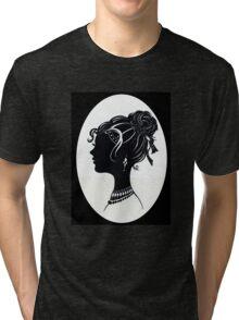 Vintage Fashion Silhouette, Old Fashioned Vanity , Beauty black white Tri-blend T-Shirt