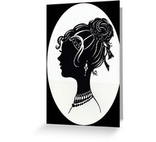 Vintage Fashion Silhouette, Old Fashioned Vanity , Beauty black white Greeting Card
