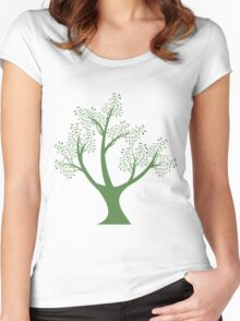 Green art tree silhouette  Women's Fitted Scoop T-Shirt