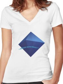 Geometric Screaming Women's Fitted V-Neck T-Shirt