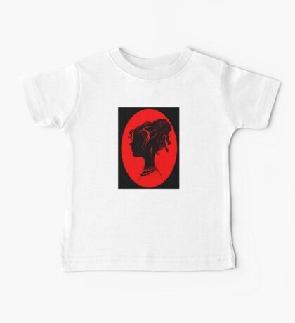 Red Vanity , Fashion Goth Silhouette Beauty Paper Cutout Fashion illustration Lady Baby Tee