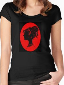 Red Vanity , Fashion Goth Silhouette Beauty Paper Cutout Fashion illustration Lady Women's Fitted Scoop T-Shirt