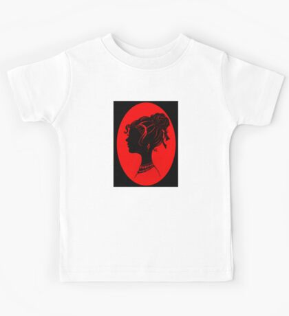 Red Vanity , Fashion Goth Silhouette Beauty Paper Cutout Fashion illustration Lady Kids Tee