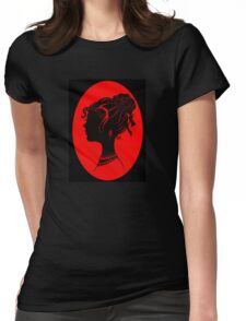 Red Vanity , Fashion Goth Silhouette Beauty Paper Cutout Fashion illustration Lady Womens Fitted T-Shirt