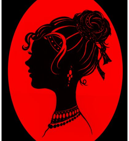 Red Vanity , Fashion Goth Silhouette Beauty Paper Cutout Fashion illustration Lady Sticker