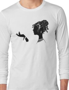 Vanity , Fashion illustration Beauty Paper Cutout black and white silhouette signed print Sexy Woman Girl Makeup Jewelry Modern & Minimal Long Sleeve T-Shirt