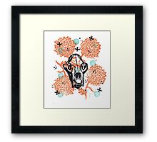 Bear Skull and Chrysanthemums Framed Print
