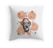 Bear Skull and Chrysanthemums Throw Pillow