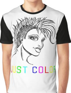 """JUST COLOR - """"Mohawk Girl"""" Graphic T-Shirt"""