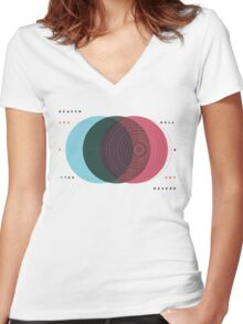 Emanuel Swedenborg's Heaven and Hell Women's Fitted V-Neck T-Shirt