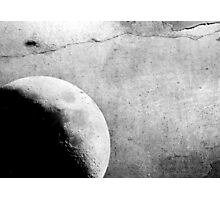 She - The moon - Grunge Black and White Photographic Print