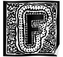 Initial F Black and WHite Poster