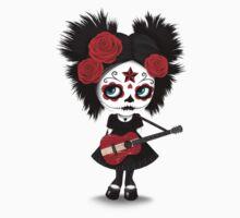 Sugar Skull Girl Playing Latvian Flag Guitar One Piece - Short Sleeve