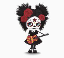 Sugar Skull Girl Playing Macedonian Flag Guitar Baby Tee