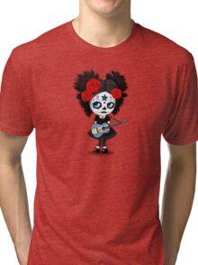 Sugar Skull Girl Playing Nicaraguan Flag Guitar Tri-blend T-Shirt