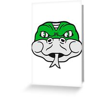 face head angry dangerous snake constrictor comic cartoon design Greeting Card