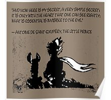 The little prince and the fox - QUOTE - sepia Poster