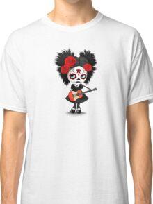 Sugar Skull Girl Playing Peruvian Flag Guitar Classic T-Shirt