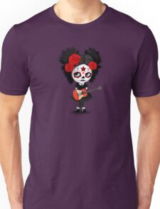Sugar Skull Girl Playing Peruvian Flag Guitar Unisex T-Shirt