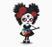 Sugar Skull Girl Playing Filipino Flag Guitar One Piece - Short Sleeve