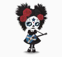Sugar Skull Girl Playing Scottish Flag Guitar Kids Tee
