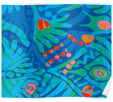 Colorful Tropical Print Abstract Art Mini Skirt in Blue and Green Poster