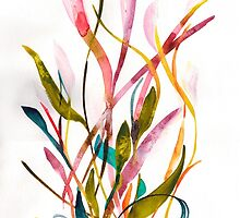 Unknown Flower 3 - Small Abstract Landscape, watercolor, ink & pencil on paper by Dmitri Matkovsky