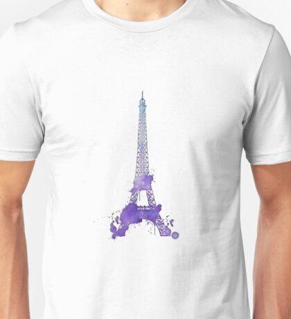 Purple Watercolor Splatter Eiffel Tower Unisex T-Shirt