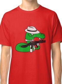 gangster mafia violence weapon machine gun rattlesnake poisonous nasty bite dangerous comic cartoon snake Classic T-Shirt
