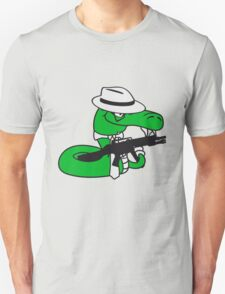 gangster mafia violence weapon machine gun rattlesnake poisonous nasty bite dangerous comic cartoon snake T-Shirt