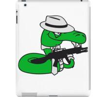 gangster mafia violence weapon machine gun rattlesnake poisonous nasty bite dangerous comic cartoon snake iPad Case/Skin
