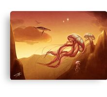 Flight of jellyfishes Canvas Print