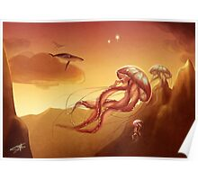 Flight of jellyfishes Poster