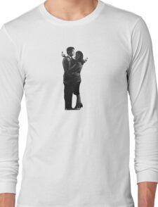 Banksy Mobile Lovers - White Long Sleeve T-Shirt