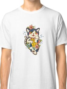Happy Japanese cat Maneki-neko. Traditional mascot  Classic T-Shirt