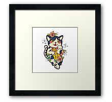 Happy Japanese cat Maneki-neko. Traditional mascot  Framed Print