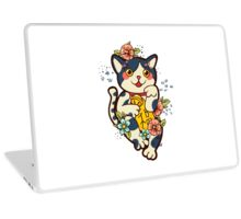 Happy Japanese cat Maneki-neko. Traditional mascot  Laptop Skin